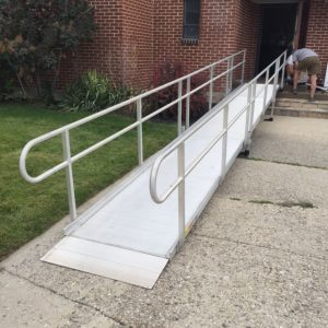 metal ramp with handrails