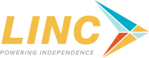 LINC powering independence plus logo arrow pointing right