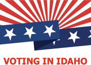 voting in idaho banner with red stripes n blue stars