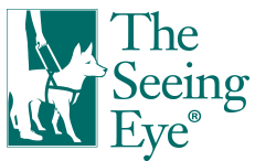 the seeing eye logo with dog green on white