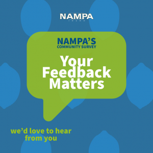 text in speech bubble reads nampa's community survey your feedback matters