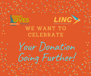 Text reads: We want to celebrate your donation going further!