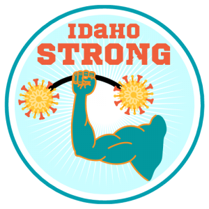 idaho strong light blue circle with arm lifting heavy barbell