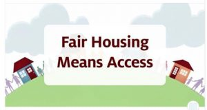 fair housing means access houses on green hill with clouds above