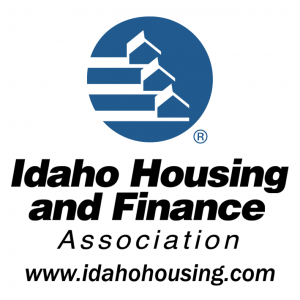 idaho housing and finance association logo blue cirlce with white houses