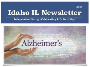 idaho il newsletter june 2021 word cloud dominated by alzheimers
